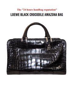 LOEWE BLACK CROCODILE AMAZONA BAG
