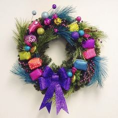 Colorful holiday wreath.