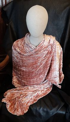 Fortuny Silk Velvet Wrap Shawl Scarf Pleated by ElegantArtifacts