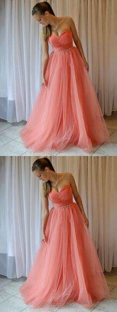 Pink Prom Dresses Long, 2018 Prom Dresses For Teens, Princess Formal Party Dresses Sweetheart, Tulle Evening Pageant Dresses Beading Vintage