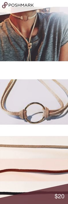 """Suede ring choker Real suede: beige (pictured), med.brown, black; 18k gold or silver plated 1"""" ring, can be worn as necklace/choker tied in front or back & around the wrist. ✨✨✨please mention which color combination you'd like in the notes below Jewelry Necklaces"""
