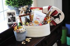 Personalized gift baskets, like this beautiful Elizabeth Woodson creation, make for great bridesmaids gifts! #wineandcountryweddings
