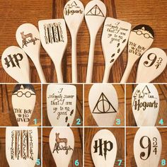 Attention all Harry Potter fans! We now have these wonderful spoons available to bring joy to your kitchen. A great set to use together or divide up and give away as gifts (if youre willing to part with them.) Spoon details are as follows: Front of spoons: Blank Back of spoons: Various images If ordering 1, 3, or 5 spoons, please use the numbers on the second picture to identify which image(s) you would like. If you dont specify, you will receive a random selection. Spoons will vary in…