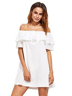 Milumia Women's Off Shoulder Ruffles Shift Loose Mini Dress White S Off The Shouder,Short Sleeve with Overlay Casual Style,Party Style Loose Fit, Machine Wash, Do not Bleach MODEL Please refer to the size measurement below before ordering Little White Dresses, White Mini Dress, Plus Size Maxi Dresses, Short Sleeve Dresses, Tunic Dresses, Summer Dresses, Long Sleeve, Very Short Dress, Sweat Dress