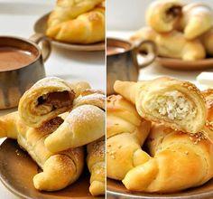 🤤🤤🤤🥐🥐🥐🥐🥐🥐🥐🥐🥐🥐πως μπορουσα να πω όχι στην κορούλα μου οταν μου ζητησε να της φτιαξω κρουασανακια ετσι και εγω λοιπον μπήκα στην κουζινα μου και εφτιαξα Γλυκά και αλμυρά κρουασανάκια στο πι και φι    Υλικά  ΓΙΑ ΤΗ ΖΥΜΗ    (για Hot Dog Buns, Finger Foods, Apple Pie, Food And Drink, Bread, Cheese, Snacks, Cookies, Vegetables