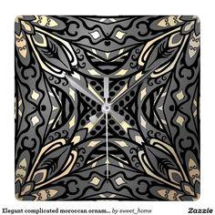 Elegant complicated moroccan ornament. square wall clock  Moroccan ornament  make interior unique and add aesthetics sense. Ornament create in oriental tradition. #Home #decor #Room #accessories #Interior #decorating #Idea #Styles #abstract
