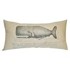 Cotton and linen pillow with an antique-inspired whale and script detail.    Product: PillowConstruction Material: Cotton and linenColor: NaturalFeatures:  Knife edgeInsert included Dimensions: 12 x 24Cleaning and Care: Dry clean only