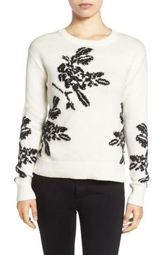 Halogen® Floral Intarsia Knit Sweater (Regular & Petite) available at #Nordstrom