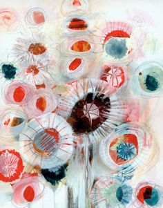 Abstracted flowers by Carla Sonheim. This is a recent trend in cArla's work and I have to say I like it. I like it alot. The colours work so well with the textures.