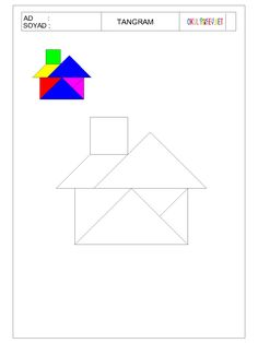 ÇOCUKLAR İÇİN TANGRAM-OKUL ÖNCESİ HERŞEY Preschool Worksheets, Teaching Math, Preschool Activities, Visual Perception Activities, Tracing Shapes, Tangram Puzzles, Learning Through Play, Ms Gs, Pattern Blocks