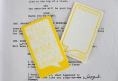 Pretty Yellow Business Cards for a Writer | Ice Cream Social