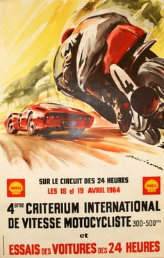 """Michèle BELIGOND – Vintage poster – Original poster for the Fourth Motocycle Criterion together with the Trials of the cars racing in the hours of Le Mans"""". Bike Poster, Motorcycle Posters, Motorcycle Art, Car Posters, Bike Art, Event Posters, Poster Ads, Racing Motorcycles, Vintage Motorcycles"""