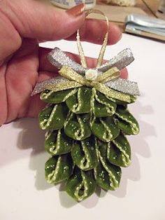 DIY- Ribbon Pinecone Ornament Tutorial could be a cute student craft Pinecone Ornaments, Christmas Ornaments To Make, Ornament Crafts, Noel Christmas, Homemade Christmas, Christmas Projects, Winter Christmas, All Things Christmas, Holiday Crafts