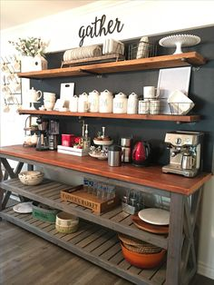 Awesome Coffee Bar Ideas that Will Makes All Coffee Lovers Falling in Love TAGS: Coffee bar ideas, Coffee station kitchen, DIY Coffee bar in kitchen, Farmhouse coffee bar, Keurig station Farmhouse Decor Living Room, Farm House Living Room, Kitchen Bar, Coffee Bar Home, Kitchen Remodel, Kitchen Decor, Bars For Home, Home Coffee Stations, Home Kitchens