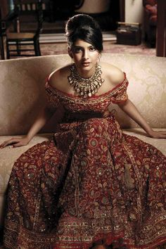 Off the shoulder red lehnga