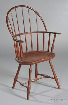Red-painted Windsor Sack-back Chair Chairs For Sale, Chair Sale, Wooden Armchair, Red Paint, New England, Accent Chairs, Windsor Chairs, Auction, Hudson Valley