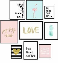 deco mur, cadre rectangulaire, dessin paon, citation café, amour, ananas vert dessin, cadres noirs