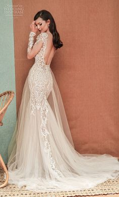 Fitted Wedding Gown, Wedding Dress Low Back, Low Back Dresses, Fit And Flare Wedding Dress, Long Sleeve Wedding, Bridal Wedding Dresses, Wedding Dress Styles, Dream Wedding Dresses, Berta Bridal