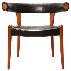 Hans Wegner, Upholstered Oak Bullhorn Chair for  Johannes Hansen, 1951.
