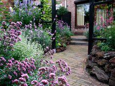 Mooi opstapje en Oregano op de voorgrond in deze kleine romantische tuin