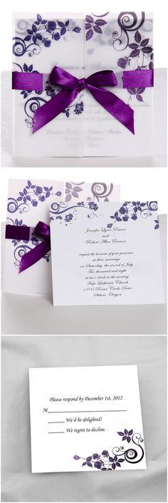 tri-folded pocket classic purple ribbon wedding invitations at http://www.elegantweddinginvites.com/product/classic-purple-gate-fold-ribbon-wedding-invitations-ewri004/?mpin0301