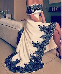 Robe de soirée de Arbaic alta baixa vestidos Sexy fora do ombro vestidos de apliques branco e preto