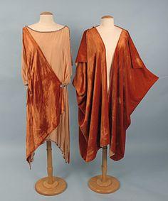 Burnt Orange Velvet Dress & Coat, 1920s