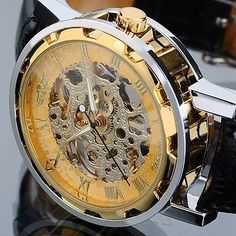 Mens skeleton transparent #mechanical stainless steel leather #sport #wrist watch,  View more on the LINK: http://www.zeppy.io/product/gb/2/390393981577/