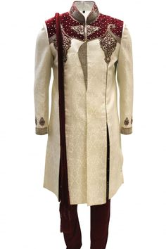 MTS2001 ( U40) Stylish Ivory and Maroon Sherwani Indian Suit Bollywood Sherwani in Vêtements, accessoires, Hommes: vêtements, Autres   eBay