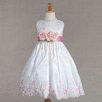 Flower Girl Dresses - Flower Girl Dress Style 886- Embroidered Taffeta Dress with 3 Flowers