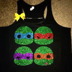 Ninja Turtles Glitte Tank - Ninja Turtles Shirt - Racerback Tank - Ruf – Ruffles with Love