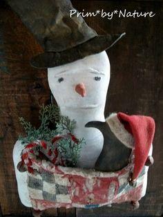 Primitive Christmas Snowman with Santa Crow Door Greeter