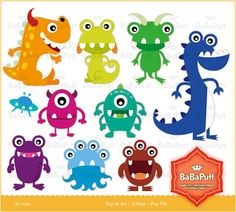 Instant Downlods, Little Monsters Clipart, For Invitation Card Making, Baby Shower, DIY Projects, Personal and Small Commercial Use. BP 0140 on Etsy, $5.00