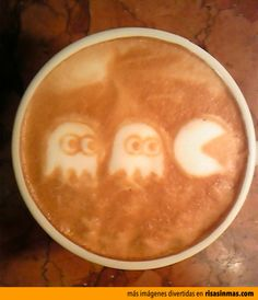 Latte art Pac-Man.