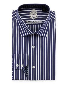 Classic Fit Striped Dress Shirt, Navy by English Laundry at Neiman Marcus Last Call.