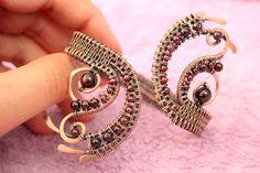 Wire wrapped bracelet Garnet bracelet Copper by LacyLoveWireWrap