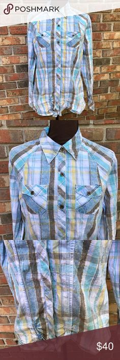 Blue Plaid Fitted Cotton Button Down Shirt Lightly Used | Excellent Condition | Multi Colored | Plaid Design | Long Sleeve | Fitted | Button Down | Collared | 3 Button Closure Cuff | 7 Buttons Down | 2 Front Pockets on Chest | Cinched Back | Length: 17.5ins | Bust: 40ins | Sleeve Length: 26ins | 100% Cotton | BKE Tops Button Down Shirts