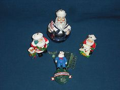 Sailor Santa Ornaments, US Navy Santa Salutes You! Set of 4, Free US Shipping