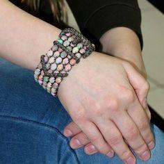 Opal Studded Designer Gold Sterling Silver Diamond Gemstone Bracelet Jewelry By Gemco International