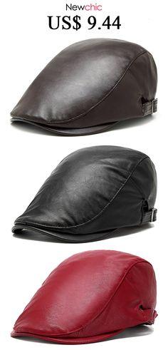 d2253edb998 Men Women Vintage PU Leather Beret Cap Casual Outdoor Windproof Duck Hat  Adjustable Newsboy Cap