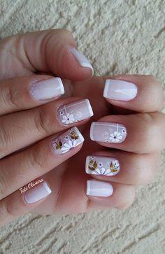 20 Modelos de unhas fancesinhas com flor; veja: Nail Deco, Finger Nail Art, Spring Nail Art, Trendy Nail Art, Super Nails, Cute Nail Designs, French Nails, Manicure And Pedicure, Natural Nails