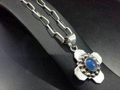 Vintage Taxco Mexico Signed Sterling Silver Cross with Chalcedony Cabochon on Original Silver Necklace TG-117