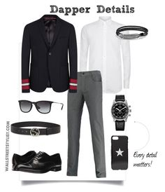 Dapper Details by wallststylist on Polyvore featuring Canali, Gucci, Emporio Armani, Zenith, Ray-Ban, David Yurman, Givenchy, men's fashion and menswear www.WallStreetStylist.com