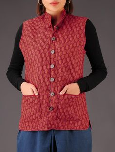Buy Red Maroon Printed Reversible Quilted Jacket Cotton Winter Whims Vibrant Jackets Online at Jaypore.com Half Jacket, Jacket Style, Crop Top Designs, Blouse Designs, Coats For Women, Jackets For Women, Clothes For Women, Anarkali, Lehenga
