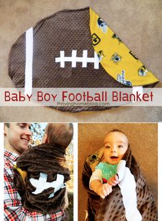 "Make Your Own Football Baby Blanket. Customize it to your favorite team! (I dislike how they say right on the picture ""baby boy football blanket"") Football Baby Blankets, Baby Boy Football, Osu Baseball, Football Nursery, Football Quilt, Football Baby Shower, Sports Baby, Football Gear, Baby Boy Blankets"