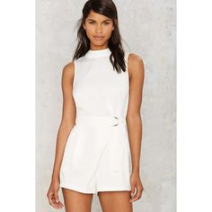 Glamorous Susana Mock Neck Romper (€70) ❤ liked on Polyvore featuring jumpsuits, rompers, white, cutout romper, white cut out romper, cut out romper, playsuit romper and white rompers