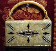 1920s art deco bag, celluloid and rhinestones