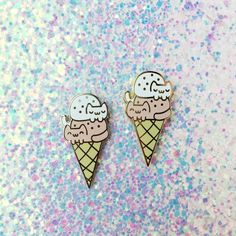 Double Dip Cat Cream Cone • Hard Enamel Lapel Pin by thepinksamurai on Etsy https://www.etsy.com/listing/276393434/double-dip-cat-cream-cone-hard-enamel