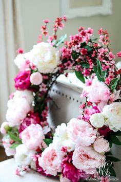 How to Make a Beautiful Peony and Cherry Blossom Spring Wreath - Randi Garrett Design