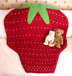 """Knitting Pattern for Strawberry Baby Blanket throw afghan . Size: one size - 37"""" wide x 37"""" long. More info on Etsy (affiliate link) tba"""